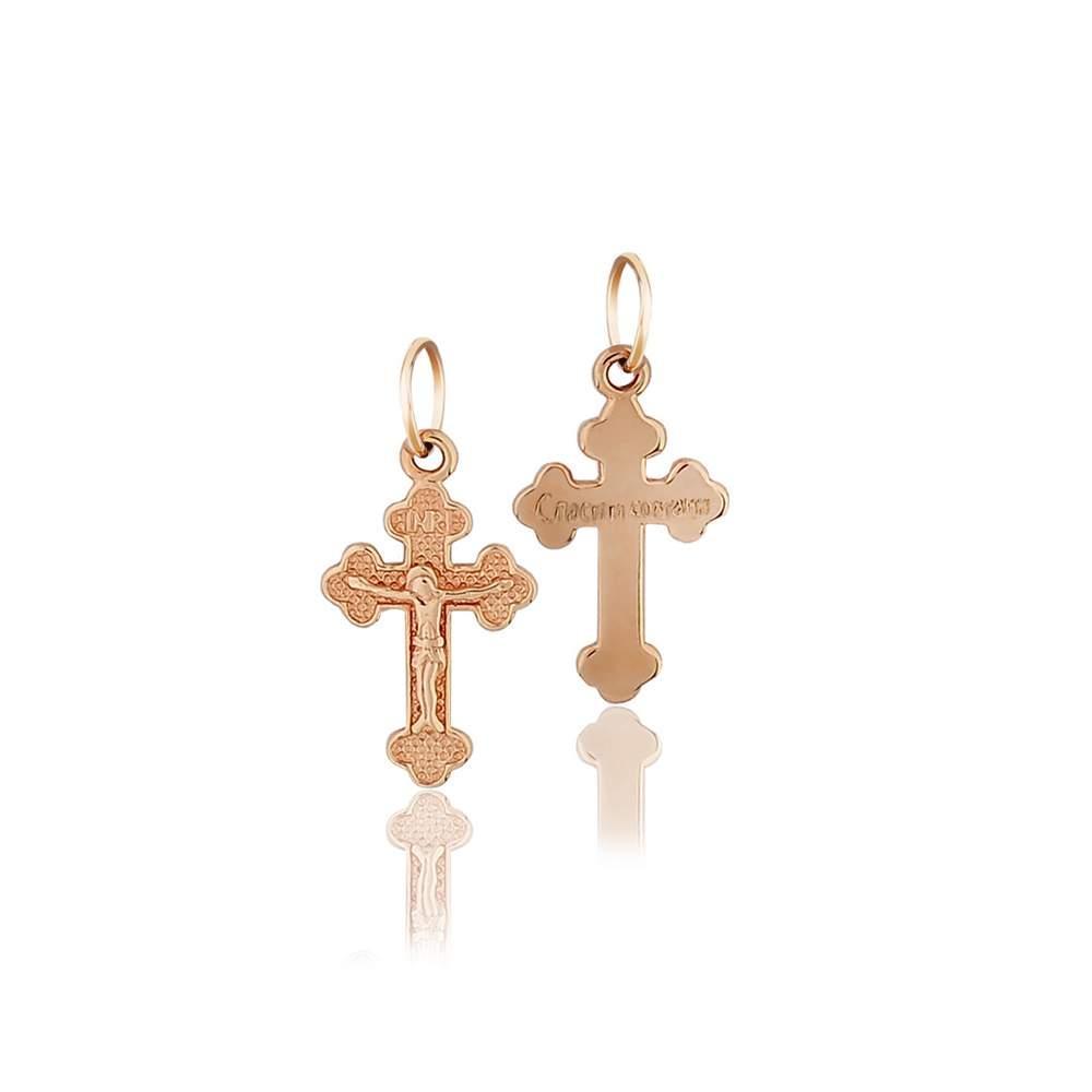 Золотой крест нательный из красного золота, КР0139 Eurogold