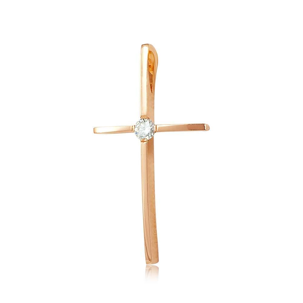 Золотой крест с бриллиантом, КР7158 Eurogold