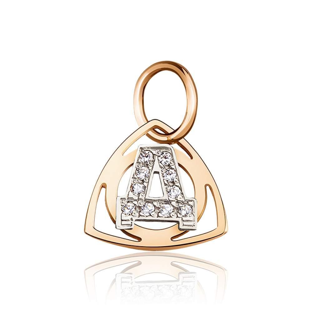 """Золотой кулон с цирконами в форме буквы """"Д"""", комбинированное золото, П0179Д Eurogold"""