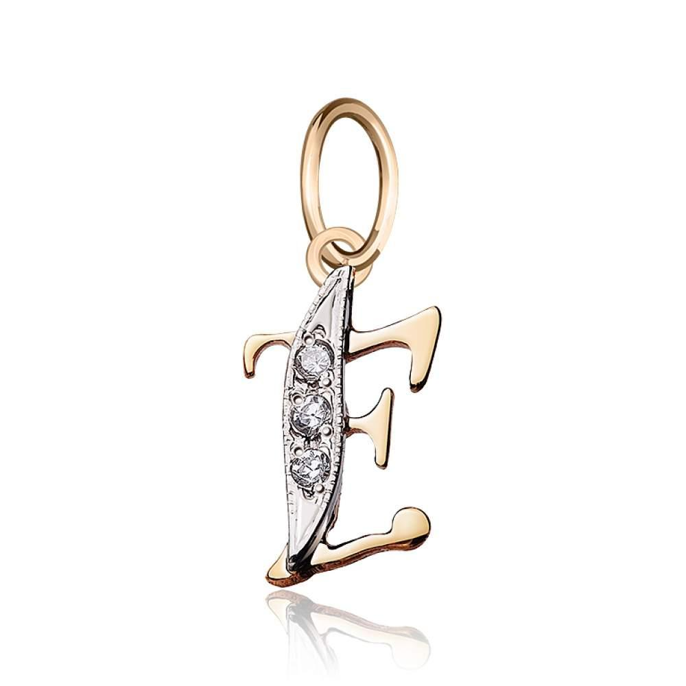 """Золотой кулон с цирконами в форме буквы """"Е"""", комбинированное золото, П045Е Eurogold"""
