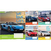 Тетрадь школьная, А5 на 60 листов, линейка, We love cars, 762211