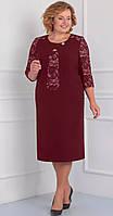 Платье Орхидея люкс-841/1 белорусский трикотаж, бордо, 56