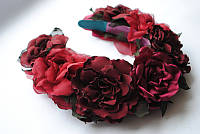 Ободок с цветами «Бордо»