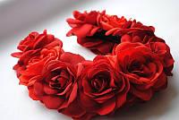 Ободок на голову «Красные розы»