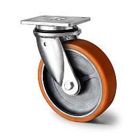 Поворотне колесо діаметр 160 мм чавун/поліуретан кульковий підшипник навантаження 500 кг