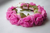 Ободок на голову с цветами «Розовые розы»