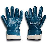 Перчатки рабочие КЩС синяя твердый манжет 10,5 (Польша)