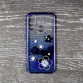 Чехол накладка для Huawei Honor 8A силиконовый Beckberg Breathe seria, Синие цветы
