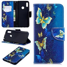 Чехол книжка для Huawei Honor 8A боковой с отсеком для визиток, Волшебные бабочки