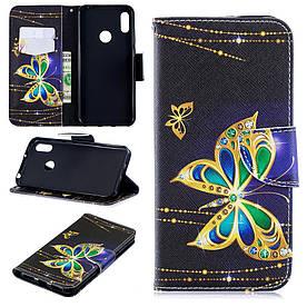 Чехол книжка для Huawei Honor 8A боковой с отсеком для визиток, Золотая бабочка