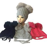 Детская шапка на завязке шерсть+акрил на флисе от 2 до 5 лет