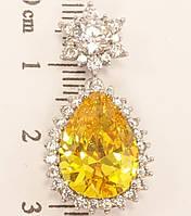 """Кулон ХР Родий """"Желтый кристалл в лучистом обрамлении циркония с кристальным цветочком"""""""