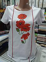 Вышитая футболка женская маки