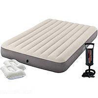 Надувной матрас Intex 64709-2, 152 х 203 х 25 см, с двумя подушками и ручным насосом. Двухместный
