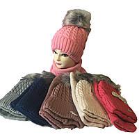 Детский набор зима на флисе, шерсть+акрил от 5 до 10 лет