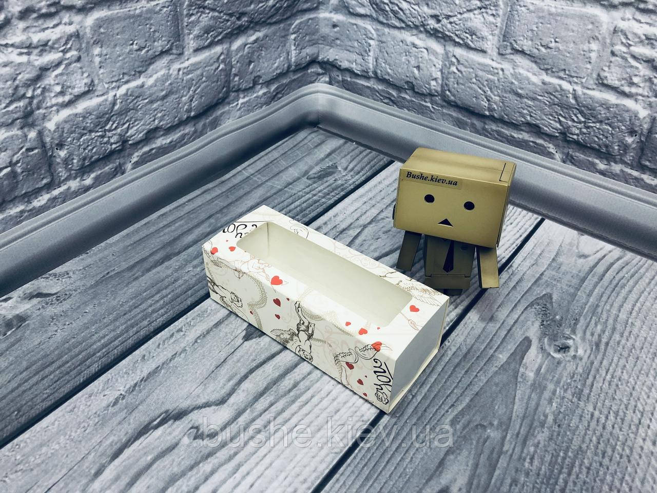 *50 шт* / Коробка для макаронс / 140х55х45 мм / печать-Ангел / окно-обычн / лк