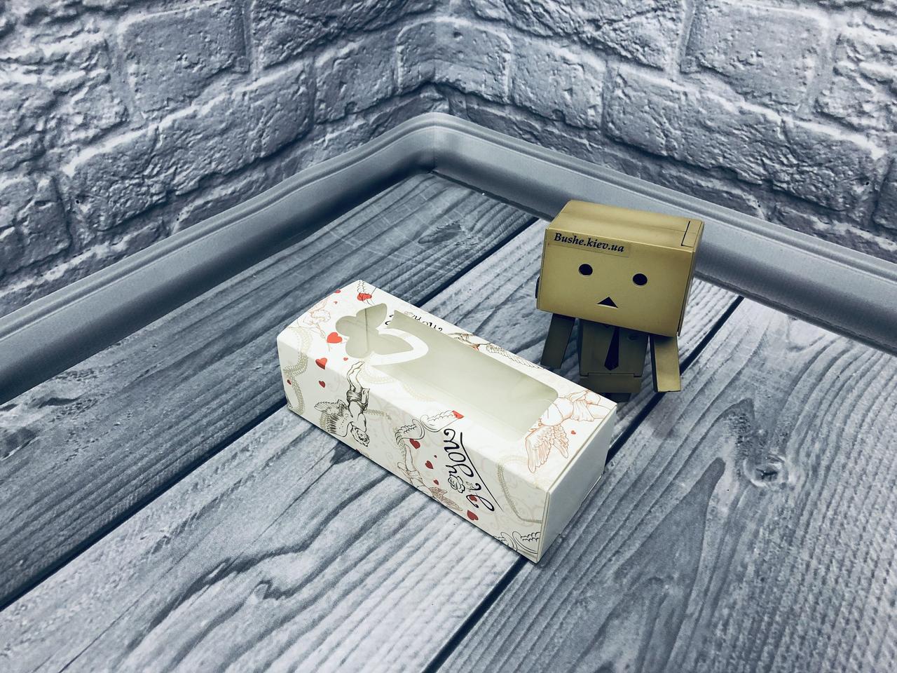 Коробка для макаронс / 140х55х45 мм / печать-Ангел / окно-бабочка / лк