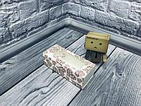 *50 шт* / Коробка для макаронс / 140х55х45 мм / печать-Сердц.Красн / окно-бабочка / лк, фото 1