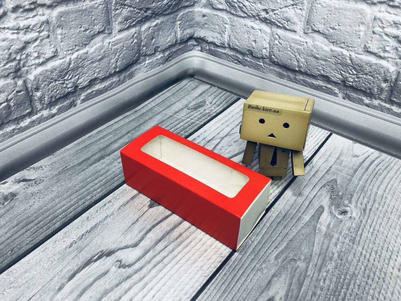 *50 шт* / Коробка для макаронс / 140х55х45 мм / печать-Красн / окно-обычн
