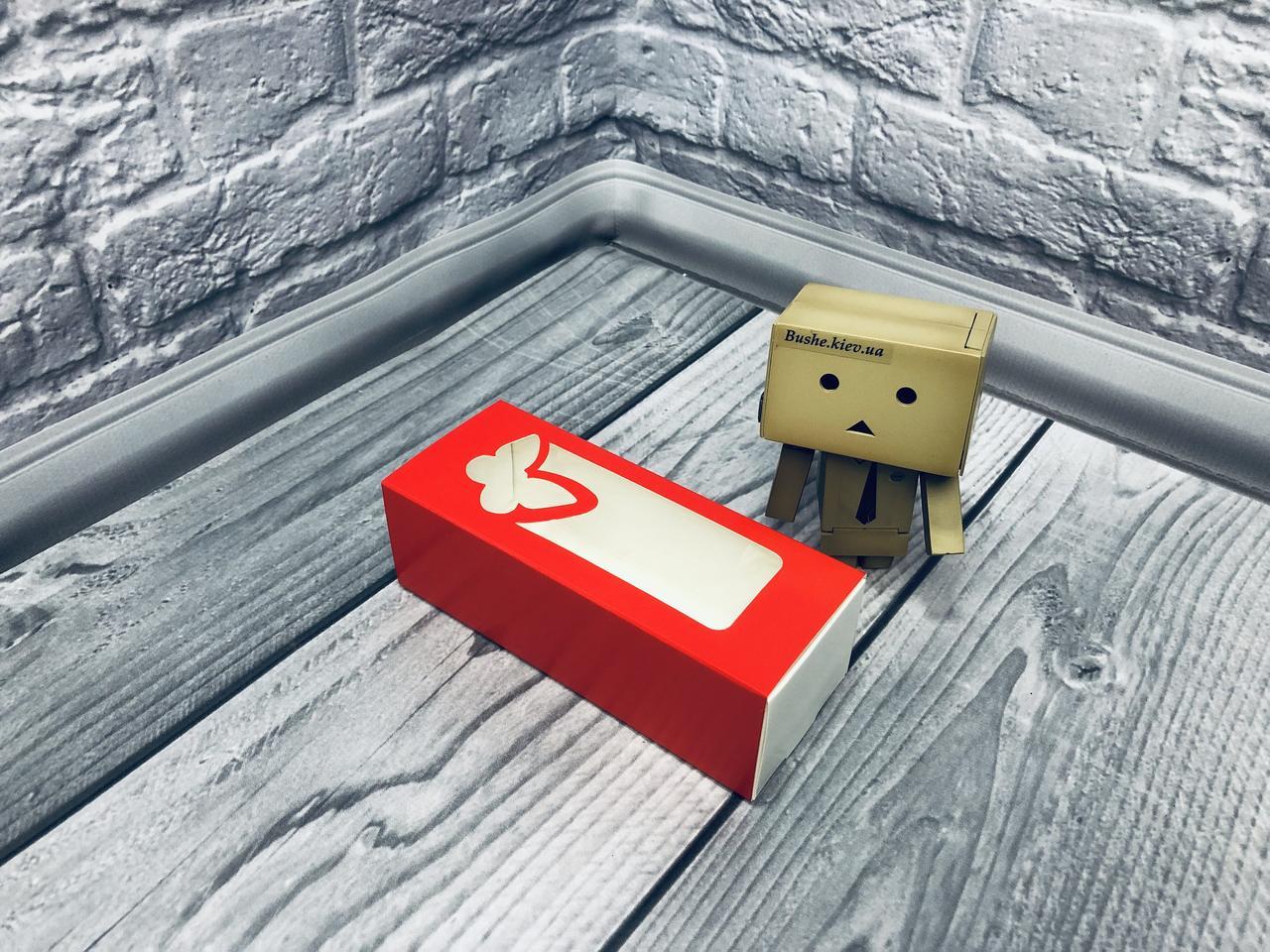*50 шт* / Коробка для макаронс / 140х55х45 мм / печать-Красн / окно-бабочка
