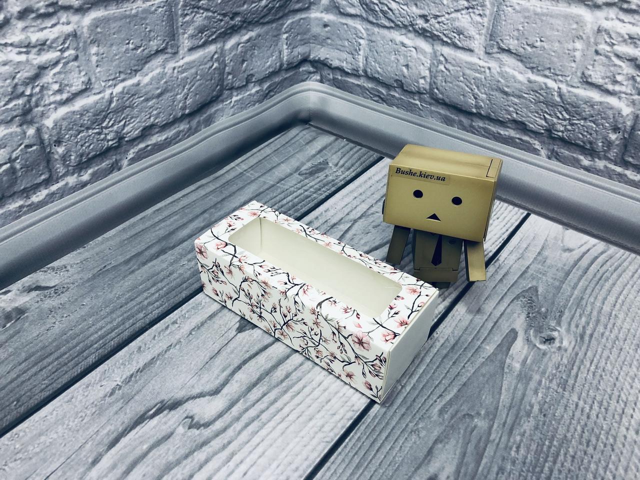 *50 шт* / Коробка для макаронс / 140х55х45 мм / печать-Сакур / окно-обычн / лк / цв