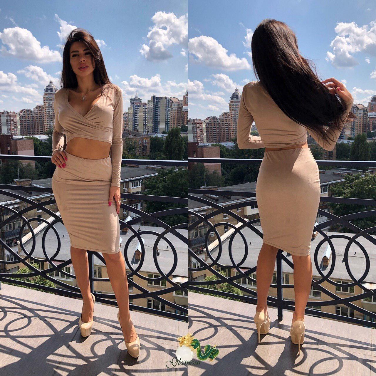 Замшевый женский юбочный костюм с топом перекрутом 72101399