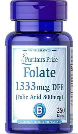 Витамины Puritans Pride Folate 1333 DFE Фолиевая кислота 800мкг 250таб, фото 2