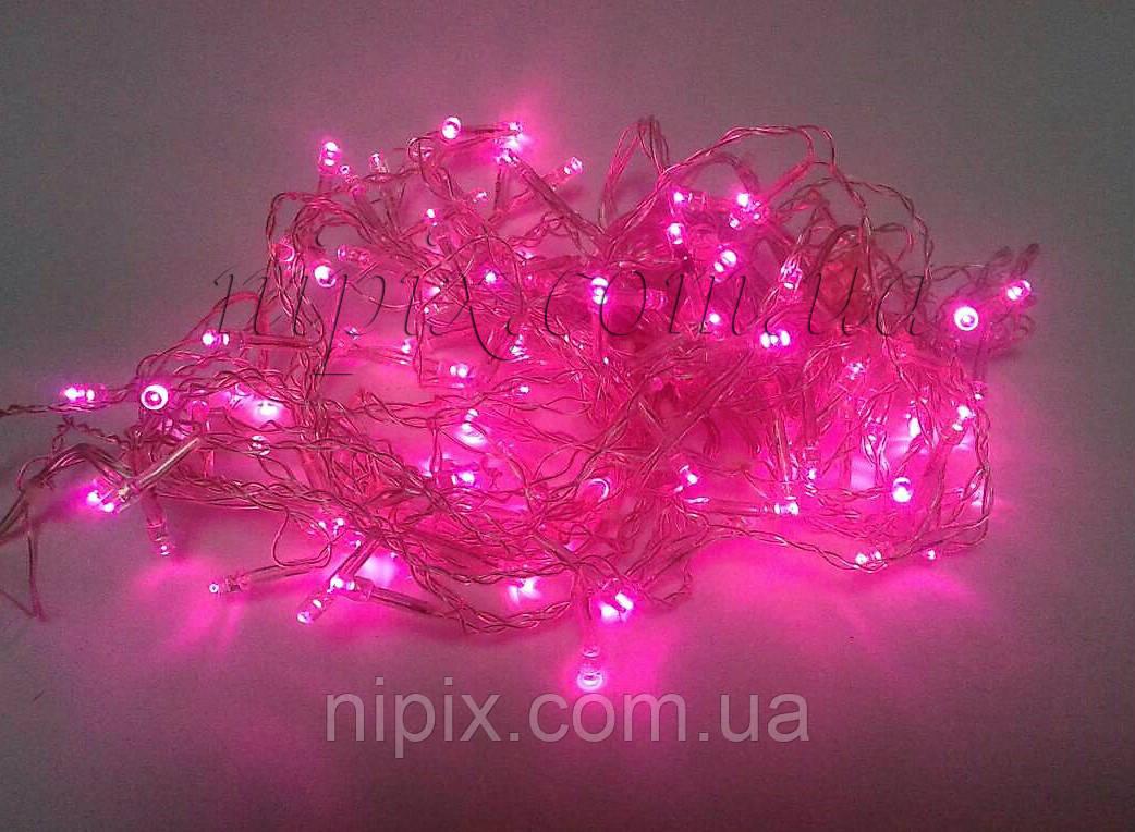 Гирлянда светодиодная бахрома 120 LED розовая