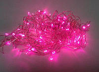 Гирлянда светодиодная бахрома 120 LED розовая, фото 1
