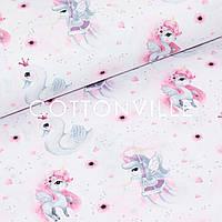 ✁ Отрезы Хлопковой ткани Единороги лебеди на белом, фото 1