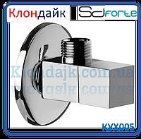 Кран шаровый угловой (квадрат) с керамической буксой SD Forte 1/2*3/4