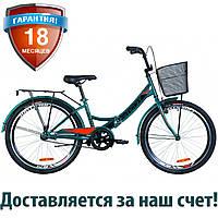 """Подростковый складной велосипед 24"""" Formula SMART с корзиной 2019 (синий с оранжевым (м))"""