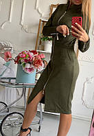 Платье женское замш весна-осень (42/46 универсал) (цвет хаки) СП, фото 1