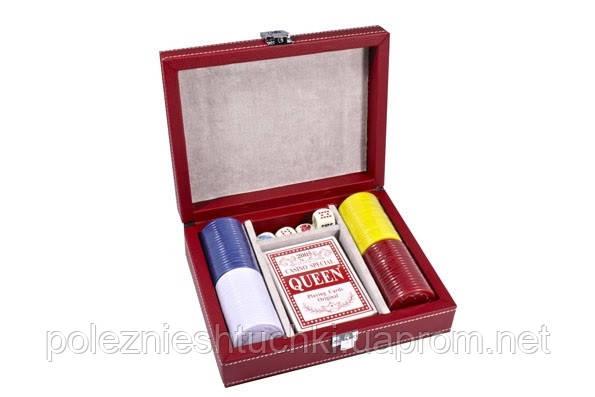 Набор для покера в красном кожаном кейсе 18х14,5