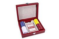 Набор для покера в красном кожаном кейсе 18х14,5, фото 1