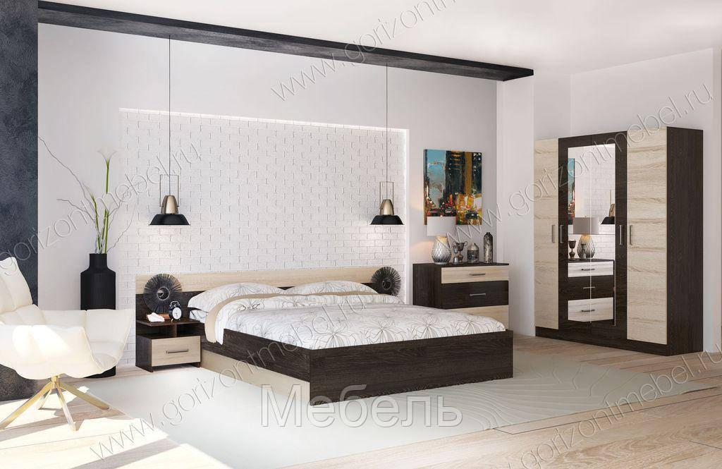 Спальня Уют 1 Горизонт с 3-х дверным шкафом