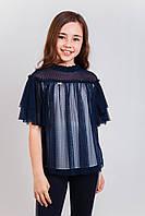 Шкільна блузка для дівчинки: Любава синій