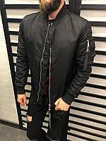 Мужская куртка-бомбер черная 3215