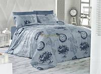 Постельное белье Nazenin Ranforce Vintage Pierre голубое евро размера