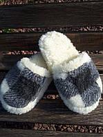 Тапочки из овчины ромб желтый  42-46р