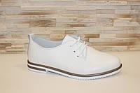 Туфли женские белые на шнурках натуральная кожа код Т292, фото 1