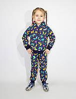 Спортивный демисезонный детский костюм для девочке с капюшоном, рост 98-104-110-116