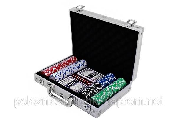 Набор для игры в покер в алюминиевом кейсе, 200 фишек.