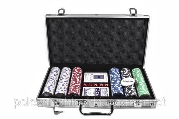 Набор для игры в покер в алюминиевом кейсе, 300 фишек.