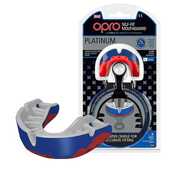 Капа OPRO Platinum Series Blue/Pearl/Red (art.002197001)