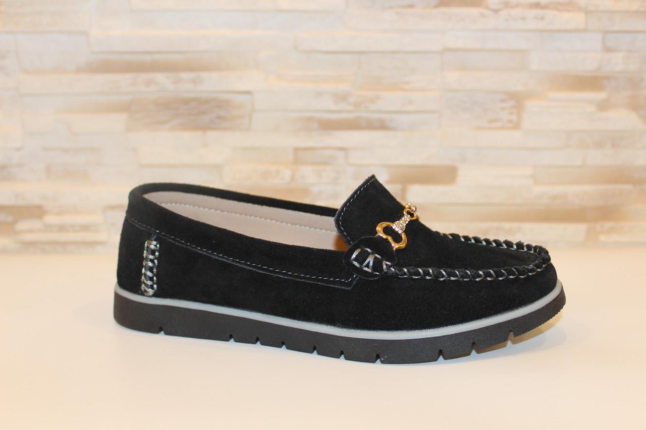 Мокасины туфли женские черные натуральная замша Т294