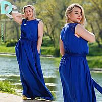 Однотонное летнее платье больших размеров