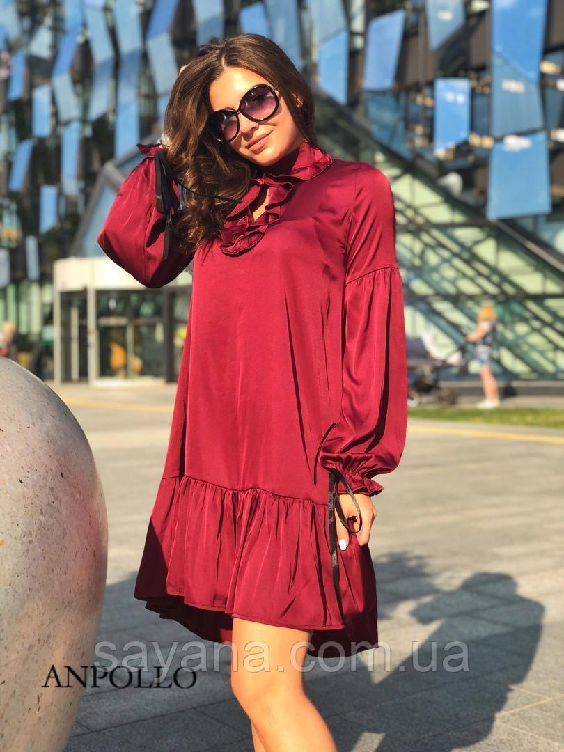 Стильне жіноче плаття з рюшами, в кольорах. НП-14-0719
