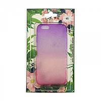 Силиконовый чехол-накладка Капли 3D для iPhone 6/6s Градиент Розовый/Фиолетовый