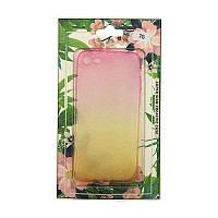 Силиконовый чехол-накладка Капли 3D для iPhone 7/8 Градиент Розовый/Желтый